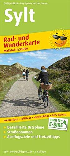 sylt-rad-und-wanderkarte-mit-detailierten-ortsplnen-strassennamen-ausflugszielen-und-freizeittipps-wetterfest-reissfest-abwischbar-gps-genau-1-35-000-rad-und-wanderkarte-ruwk