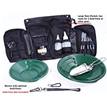 VAS 21 PC Black Prospectors Gold Panning Pan Essentials Set Kit | Molle Bag | 2 Gold Pans | Adults | Kids | Beginners Too! | Equipment for Metal Detecting & Gold Panning (BLACK GOLD PANS)