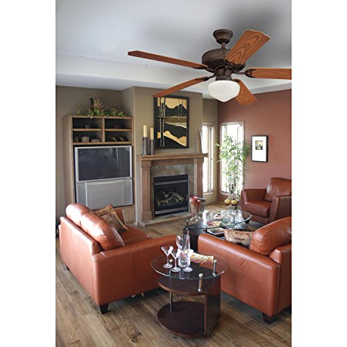 Westinghouse Lighting 7784600 LED Schoolhouse Indoor/Outdoor Energy Star Ceiling Fan Light Kit, Oil Rubbed Bronze Finish with White Opal Glass by Westinghouse Lighting (Image #1)