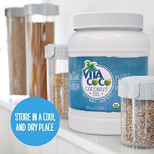 Vita Coco Organic Virgin Coconut Oil, 54 Ounces - Non GMO Cold Pressed Gluten Free Unrefined Oil - Use as Cooking Oil, Skin Moisturizer or Hair Shampoo