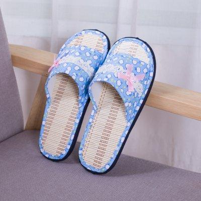 LaxBa Hommes Femmes tricoté coton Anti-Slip Chambre chaussons bleu clair,38-39