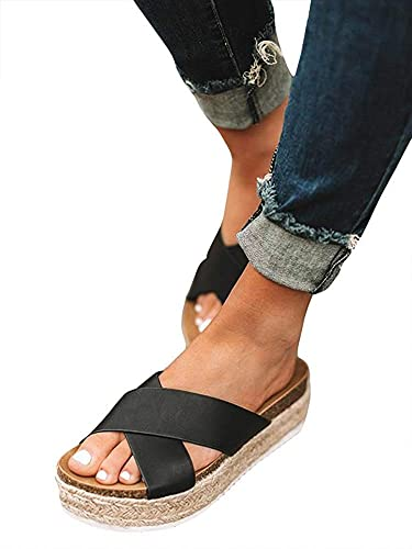 e37796b670b Amasha Womens Slip On Platform Slide Sandals Espadrille Cross Strap Summer  Flats Shoes (5 US