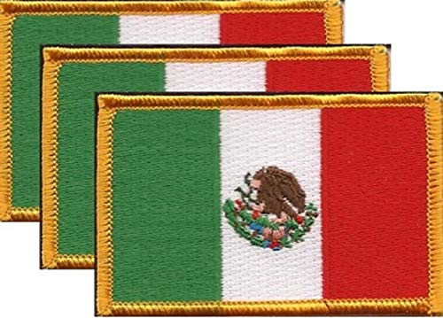 """Pack of 3 Country Flag Patches 3.50"""" x 2.25"""", Three International Embroidered Iron On or Sew On Flag Patch Emblems (Mexico)"""