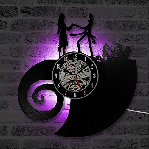 Nightmare Before Christmas Theme Cd Led 3D Classic Mute Hanging Wall Creative Antique Style Halloween ()
