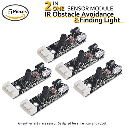 - 5pcs 2 in 1 Arduino IR Distance Sensor and Finding Light Module (2rd Generation Arduino Infrared Distance Sensor), with Chasing Light Sensor, Photoelectric Reflection on the Tube for Arduino Smart Car