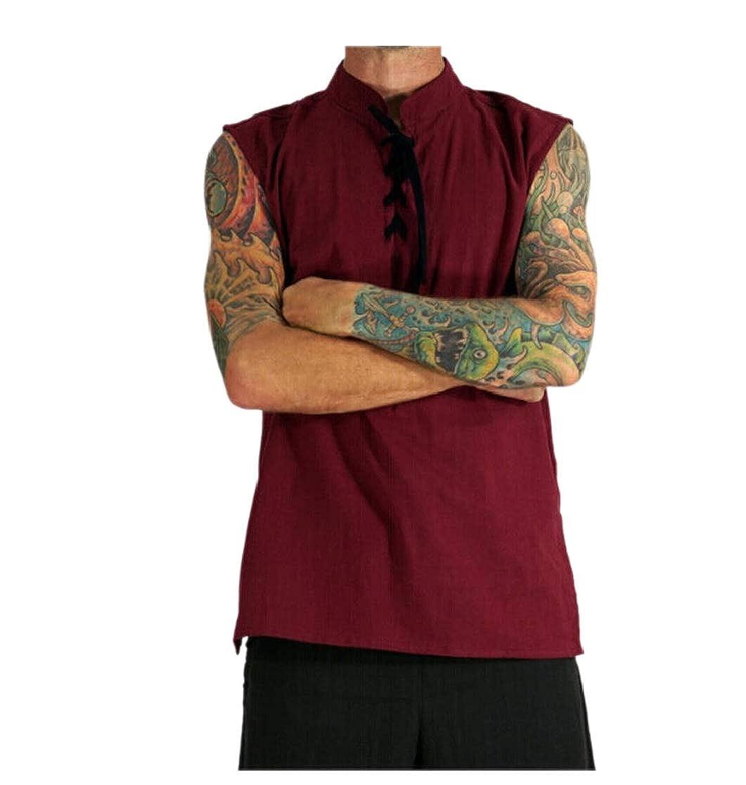 CYJ-shiba Mens Sleeveless Stand Collar Linen Lace-up Big and Tall Tank Tops