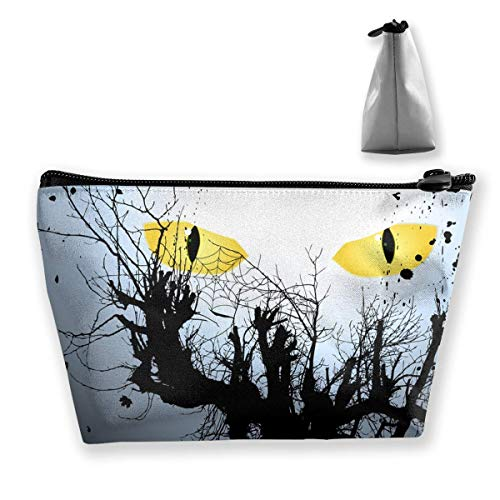 Halloween Background With Scary Eyes Waterproof Trapezoil Bag Cosmetic Bags Makeup Bag Large Travel Toiletry -