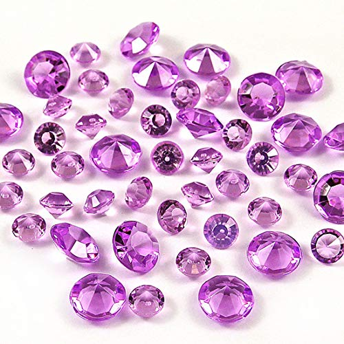 1000Pcs 10mm Acrylic Crystal Rhinestone Table Scatter Confetti, Artificial Diamond Table Vase Beads Fillers Decoration for Wedding, Valentine's Day, Anniversary, DIY Arts & Crafts (Purple, 10mm)