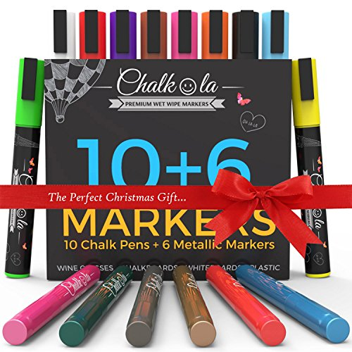 Chalkola Chalk Markers & Metallic Colors - Pack of 16 chalk pens - For Chalkboard, Whiteboard, Window, Labels, Bistro - 5.5mm Bullet Tip with 8 gram ink (Picture Markers compare prices)