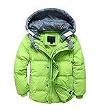 LOKTARC Boys Girls Down Coats Winter Hooded Puffer Jackets Light Green 5-6T