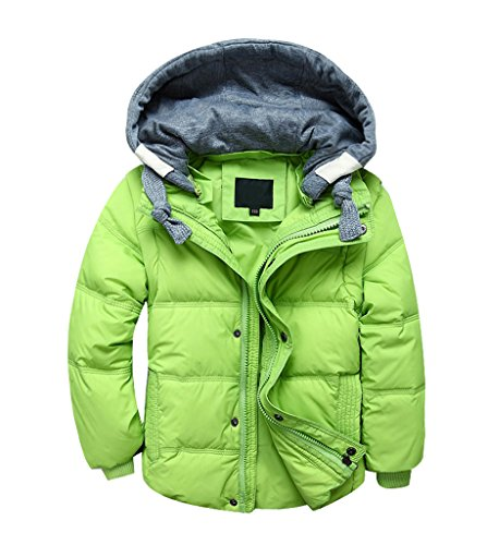 Puffer Hood with Warm Warmer Coat Body Down Removable Boys Winter Gilets Jackets Kids Green Light Padded Girls YoungSoul PqSXw