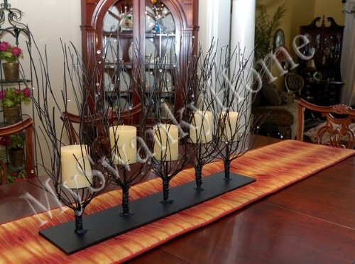 (Designer Beaded Twig Branch Iron Candle Centerpiece)