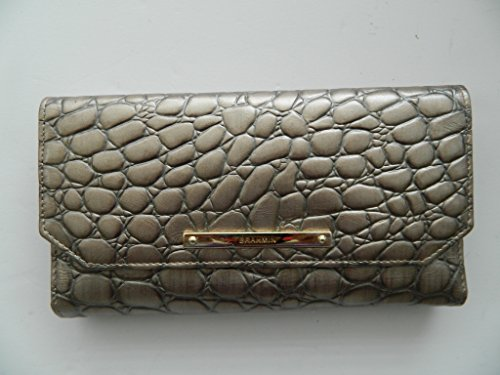 Brahmin Soft Checkbook Croc Embossed Taupe Leather Wallet by Brahmin