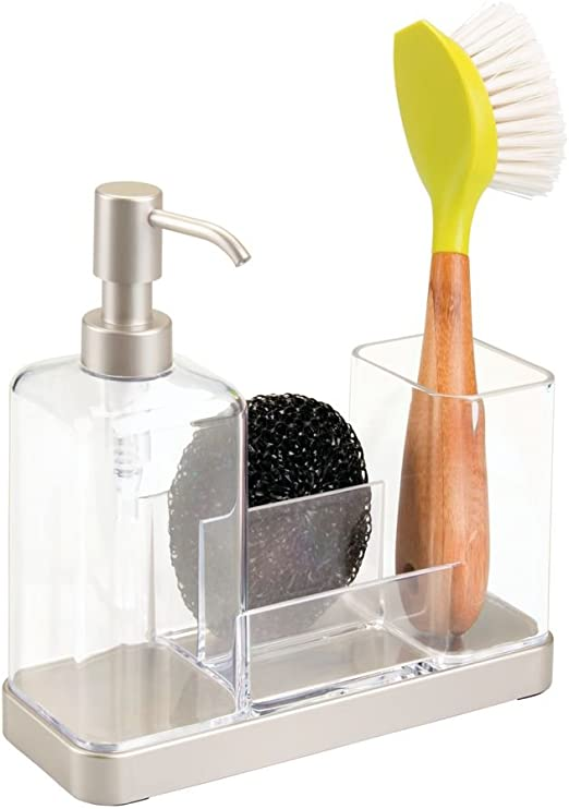 mDesign Modern Plastic Kitchen Sink Countertop Liquid Dish Soap Dispenser  Pump Bottle Caddy with Storage Compartments - Holds and Stores Sponges, ...