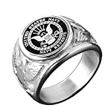 JAJAFOOK Vintage Punk Titanium Steel US Military Navy Reserve Ring for Men, Silver/Gold/Black