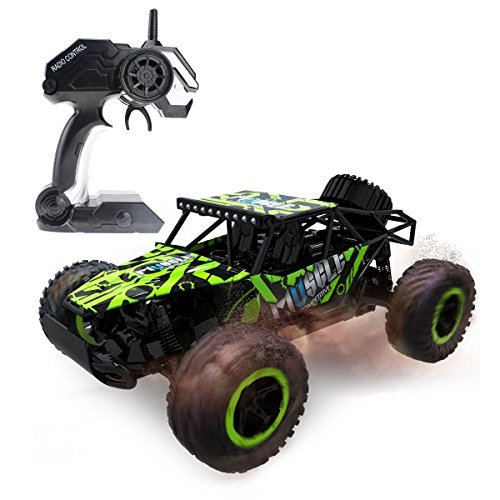Hugine 1:16 25Km/h High Speed RC Car Off Road Vehicle 2.4G Racing Cars Monster Truck Dune Buggy Muscle 4 Wheel Independent Suspension Radio Control Cars For Kids Adults Hobby Toys (Green)