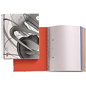 """Joshua Davis for Miquelrius Spiral Bound Notebook, Omega (6.5"""" X 8"""", 4-Subject, Graph/Grid 140 SHEETS)"""