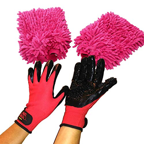 Pet Grooming Glove (1 pair) Hair Remover & 1 Pair of Plush Microfiber Wash Mitts for Bathing & Massaging your Dog, Cat or Horse