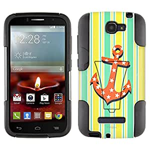 Alcatel One Touch Fierce 2 Hybrid Case Anchor on Yellow Stripes 2 Piece Style Silicone Case Cover with Stand for Alcatel One Touch Fierce 2