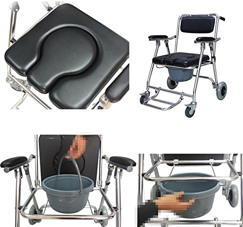 Genmine Mobile Commode Wheelchair With Assistive Seat Shower Toilet Chair with 4 Brakes and Padded Toilet Seat Wheels & Footrests Bedside Shower Transport Chair With Arms SHIPPING FROM US by Genmine (Image #5)