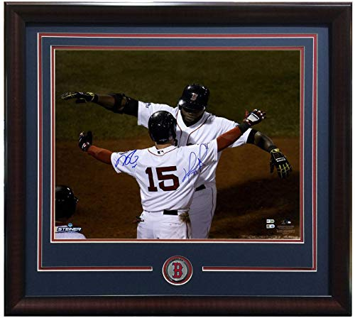 David Ortiz Dustin Pedroia signed 20x24 photo framed Red Sox coin LE Steiner COA