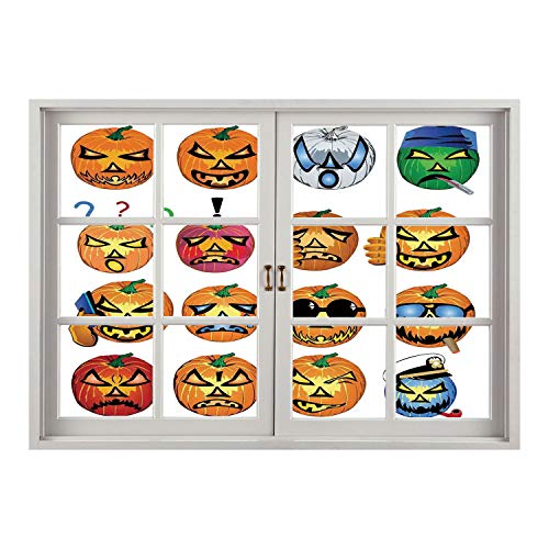 SCOCICI Wall Mural, Removable Sticker, Home Décor/Halloween Decorations,Carved Pumpkin with Emoji Faces Halloween Humor Hipster Monsters Art,Orange/Wall Sticker Mural ()