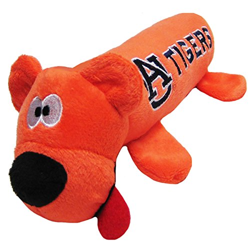 NCAA Auburn Tigers Tube Toy for Dogs & Cats. Soft Plush Fun Pet Toy with Two Inner SQUEAKERS.