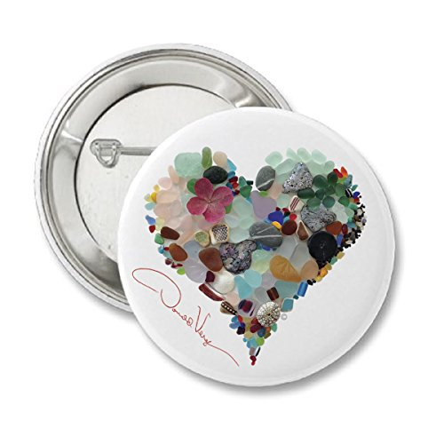 Love - Sea Glass Heart Button. 2.25 in. Matte Finish. Unique Collectible Pins. Great for College, Peace, Birthday, Christmas, Mother's Day & Valentines Gifts for Women, Men & Kids. (Photo Pins Buttons)