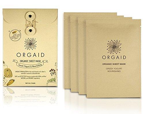 ORGAID Organic Sheet Mask | Made in USA (Greek Yogurt & Nourishing, pack of 4)