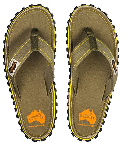 Gumbies ISLANDER Unisex Canvas Flip Flops Manly Red verde oscuro grisáceo