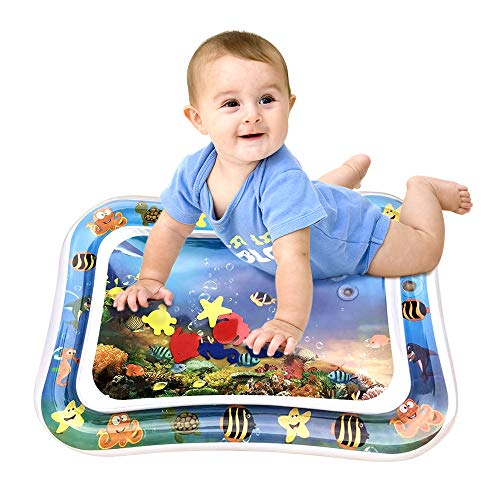 YAHO Inflatable Tummy Time Premium Water mat Infants & Toddlers, The Perfect Fun Time Play Activity Center Your Babys Stimulation Growth (Blue)