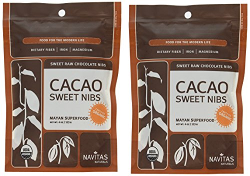 Navitas Naturals Organic Raw Cacao Nibs Sweetened, 4-Ounce Pouches (Pack of 2)