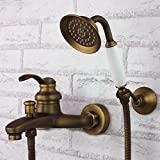 Wall Mount Tub Filler with Hand Shower Combo Set Antique Brass Finish Ceramic Valve Single Handle Three Holes