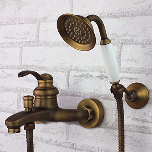 Wall Mount Tub Filler with Hand Shower Combo Set Antique Brass Finish Ceramic Valve Single Handle Three ()