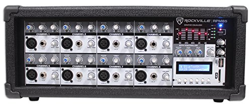Rockville RPM85 2400w Powered 8 Channel Mixer, USB, 5 Band EQ, Effects/Bluetooth by Rockville