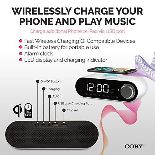 COBY Digital LED Alarm Clock Built In 10W HD Bluetooth Speakers FM Radio QI Certified Fast Wireless Charger for iPhone, Samsung and More,USB port Battery BackupAux In, Dimmer for Bedroom, Office Desk