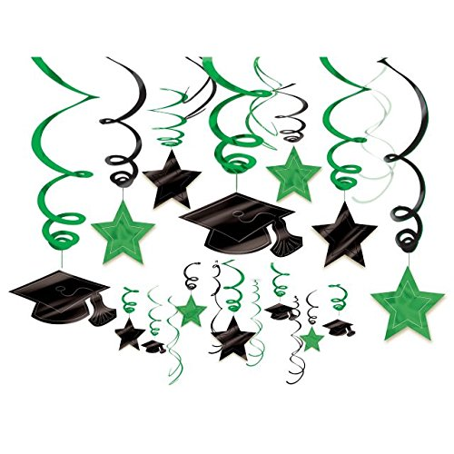 School Colors Graduation Party Swirls With Mortarboards and Diplomas Ceiling Decorations Mega Value Pack, Green and Black, Plastic, Pack of (Halloween Display Board Ideas)