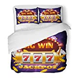 SanChic Duvet Cover Set Gambling Big Win 777 Lottery Casino Slot Machine Jackpot in Game Poker Arm Decorative Bedding Set Pillow Sham Twin Size