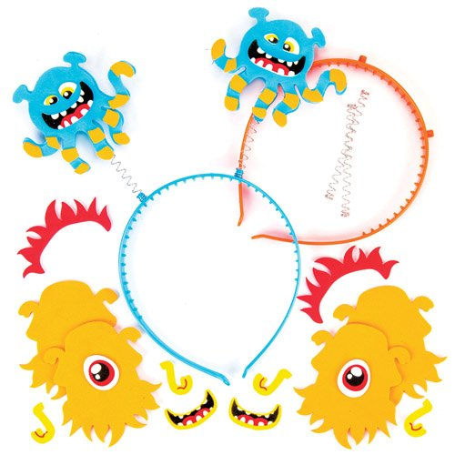 Alien Monsters Head Bopper Kits for Kids Perfect for Children's Arts, Crafts and Decorating for Boys and Girls (Pack of 4) - Dress Up Carnival / Mardi Gras Party Accessory