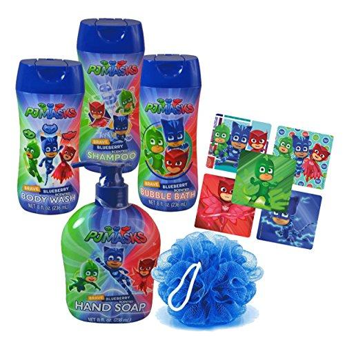 Pj Masks Super Hero 5pc Bathroom Collection! Includes Hand Soap, Body Wash, Shampoo, Bubble Bath & Bath Scrubby! Plus Bonus PJ Mask Character Stickers! ()