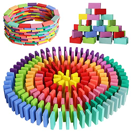 MCPINKY 360PCS Super Domino Blocks, 12 Colors Bulk Dominoes Wooden Domino Blocks Colored Dominoes Building Block Tile Game Racing Educational Toy for Kids Birthday Party Favor