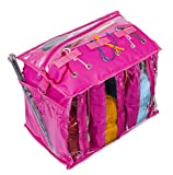 Knitting Organizer by Besti: Portable Knitting Yarn Storage Bag with Multiple Pockets, Individual Compartments, Carrying Shoulder Strap - Clear Plastic Tote Bag for Needles, Crochets & Threads (Pink)