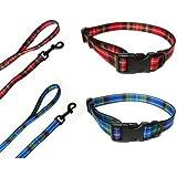 Ancol Blue Tartan COLLAR AND LEAD SET, Choose Size, (Small Collar 20-30cm & Lead)