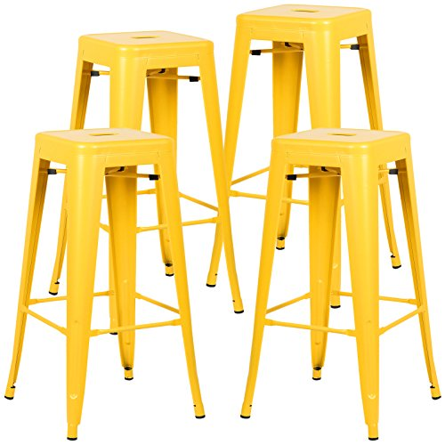 POLY & BARK EM-126-YEL-X4 Trattoria Bar Stool, Set of 4, Yellow For Sale