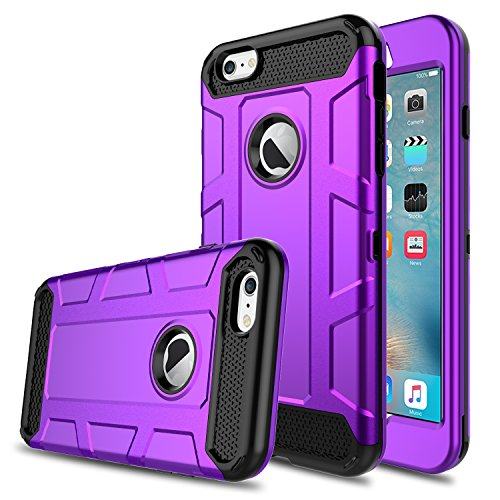 Price comparison product image iPhone 6s Case, iPhone 6 Case, Venoro Shockproof Slim Anti Scratch Hybrid Three Layer Heavy Duty Armor Defender Protective Case Cover for Apple iPhone 6/6s 4.7 inch (Dark Purple)