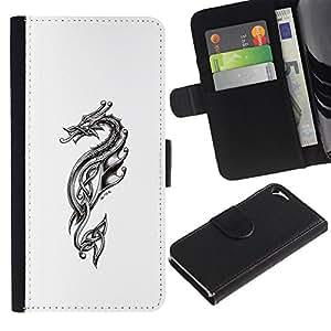 KLONGSHOP // Tirón de la caja Cartera de cuero con ranuras para tarjetas - Dragón tribal - Apple Iphone 5 / 5S //