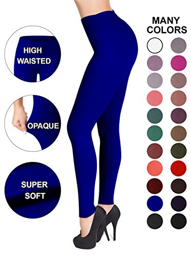 SATINA High Waisted Leggings - 22 Colors - Super Soft Full Length Opaque Slim (Plus Size, Royal ()