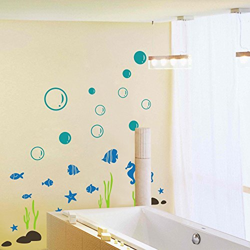 MairGwall Animals of Sea with Buble Starfish Seahorse Seaweed Fish Set Bathroom Kids Nursery Vinyl Wall Decal - First International Time Shipping Class Usps