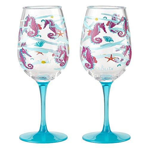 Enesco Designs by Lolita Seahorse Acrylic Wine Glasses, Set of 2, 16 oz.