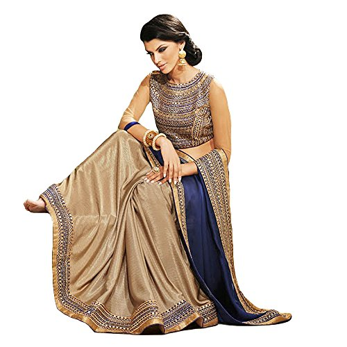 Shree Designer Sarees Women's Repute Brown & Navy Blue Georgette On Silk Saree by Shree Designer Sarees (Image #1)